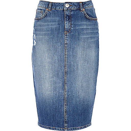 Mid wash denim pencil skirt