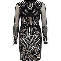 Black embellished sheer sleeve bodycon dress