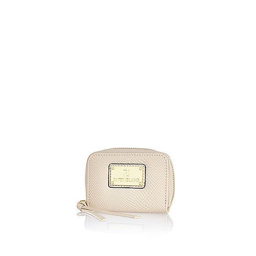 Cream textured mini purse
