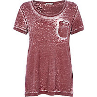 Dark red low scoop neck burnout t-shirt