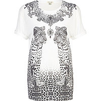 White embellished mirrored leopard t-shirt