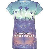 Blue LA palm tree print t-shirt