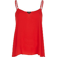 Red V neck double strap cami top