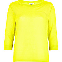Yellow fine knit open back top