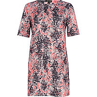 Pink abstract reptile print shift dress