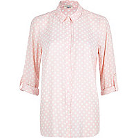 Light pink polka dot shirt