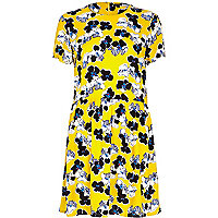 Yellow floral print smock dress