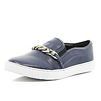 Navy blue snake chain trim plimsolls