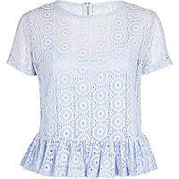 Blue lace peplum t-shirt