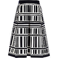 Black and white geometric stripe midi skirt