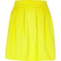 Yellow structured mini skirt