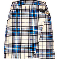 Blue tartan buckle trim wrap skirt