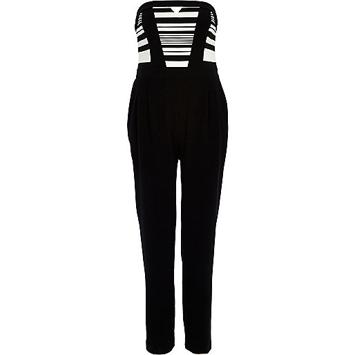 Black and white stripe bandeau jumpsuit