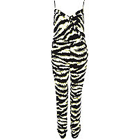 Black zebra print smart cami jumpsuit
