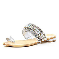 Silver embellished toe loop sandals