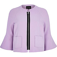 Lilac bell sleeve cropped jacket