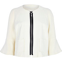 Cream bell sleeve cropped jacket