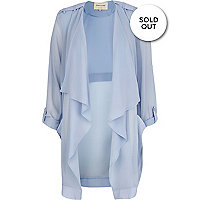 Light blue chiffon waterfall jacket