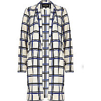 Cream check duster jacket
