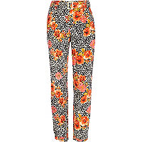 Beige animal floral belted cigarette trousers