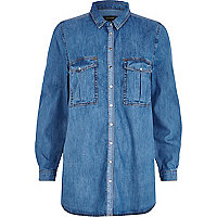 Mid wash colour block denim shirt