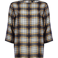 Grey check boxy t-shirt