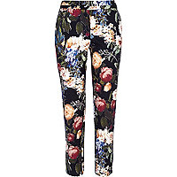 Black floral print slim cigarette pants