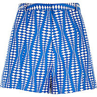 Blue geometric print smart shorts