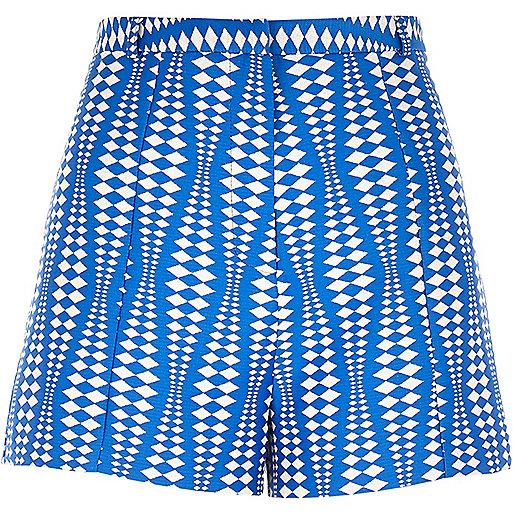 Blue geometric print smart shorts