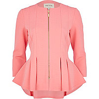 Bright pink textured jersey peplum jacket