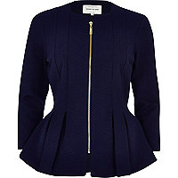 Navy textured jersey peplum jacket