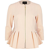 Light pink textured jersey peplum jacket