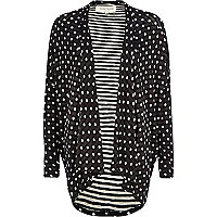 Black polka dot waterfall jersey jacket