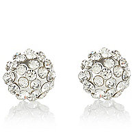 Silver tone pave ball stud earrings