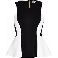 Black and white rib panel peplum top