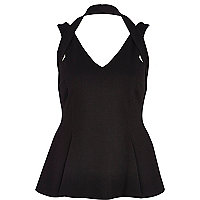 Black halterneck peplum top