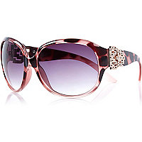 Pink tortoise shell oversized sunglasses