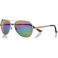 Gold tone rainbow mirrored aviator sunglasses