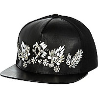 Black embellished trucker hat