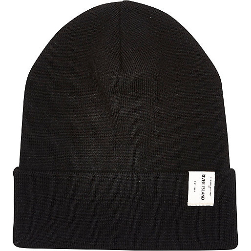 Black RI label trim beanie hat