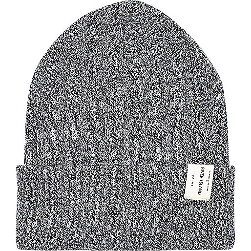 Grey marl RI label trim beanie hat