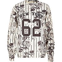 Cream New York floral stripe print sweatshirt