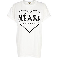 White heart breaker print oversized t-shirt