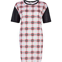 Pink tartan t-shirt dress