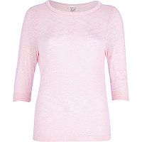 Light pink fine knit vent back top