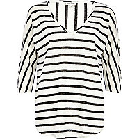 Cream stripe oversized t-shirt