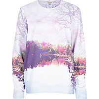 Light purple landscape print sweatshirt