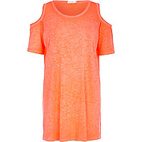 Orange burnout cold shoulder t-shirt dress