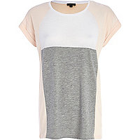 Light pink colour block t-shirt