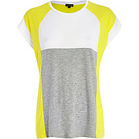 Yellow colour block t-shirt